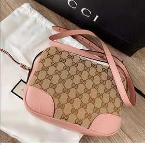 Gucci GG Canvas Small Camera Bag w/pink Leather